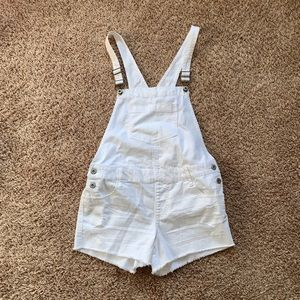 Arizona Jean Company White Short Denim Overalls